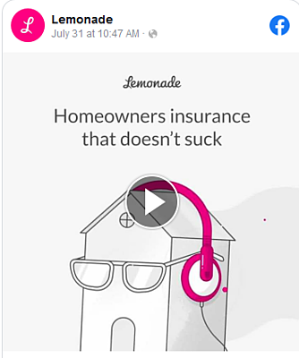 Lemonade insurance Facebook advertising