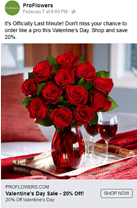 ProFlowers Valentines Day Facebook ad
