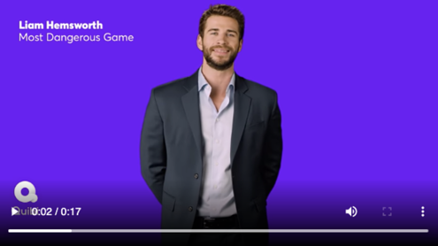 Liam Hemsworth Quibi Most Dangerous Game digital ad